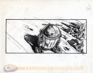 Storyboard con R2D2 obra de Alex Tavoularis