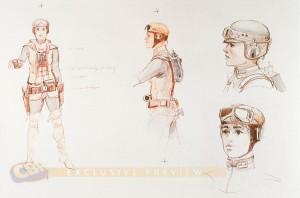 Boceto de Leia obra de McQuarrie